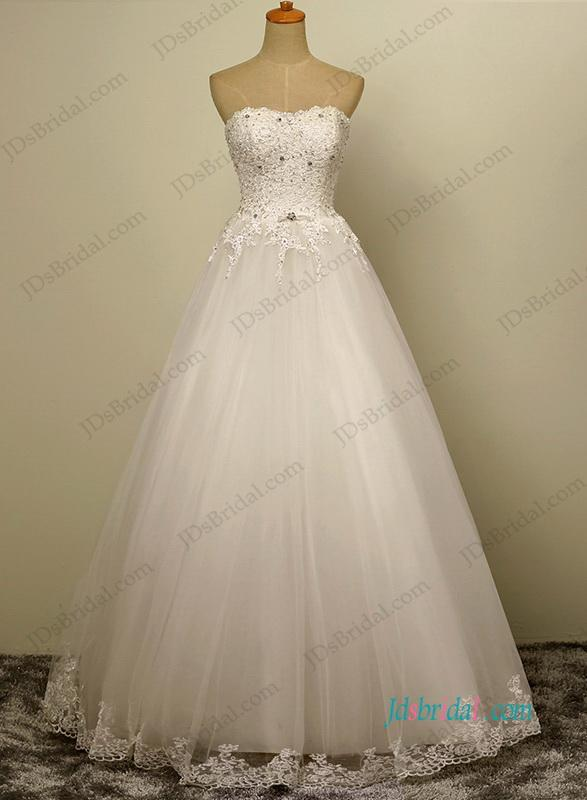 Wedding - H1201 simple tulle a line wedding dress with beaded lace details