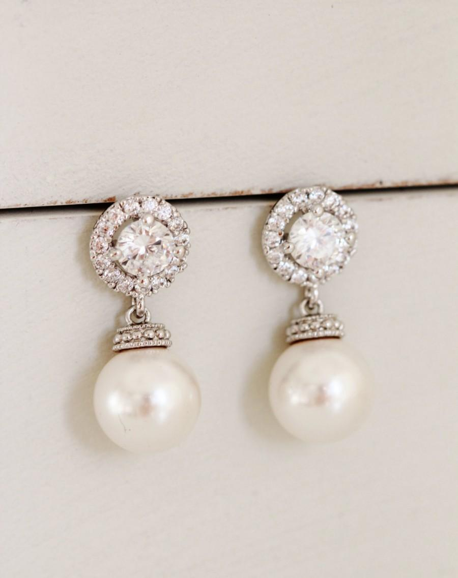 Pearl Bridal Earrings Pearl Wedding Jewelry White Ivory Swarovski