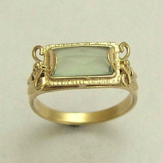 زفاف - Jade ring, Engagement ring, Solid yellow gold ring, gemstone ring, stone ring, 14k gold ring, Victorian ring - The sky is the limit RG1400-2