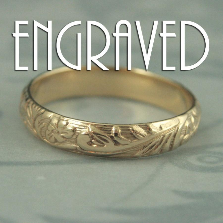 Wedding - Solid 14K Gold Neoclassic Floral Wedding Band with Personalized Ring Engraving--Solid 14K Gold Wedding Ring with Flower and Leaf Design