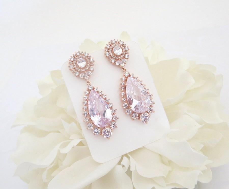 Свадьба - Rose Gold Bridal earrings, Rose Gold Teardrop earrings, Bridal jewelry, Crystal Wedding earrings, Rose Gold earrings, CZ earrings