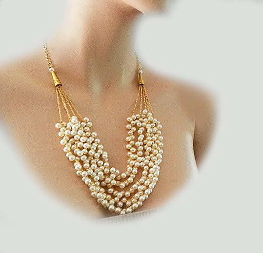 زفاف - Bridal Pearl Necklace Pearl Statement Necklace Pearl Wedding Necklace Bridal Jewellery  Wedding Jewelry Necklace Gold Egyptian, DOREN
