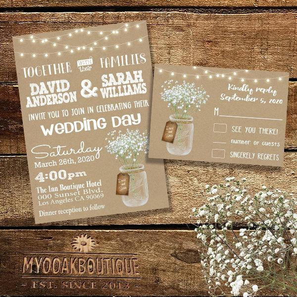 Mariage - Country Wedding invitation Rustic chic mason jar floral bouquet flowers kraft digital printable Suite Invitation RSVP you print 13990
