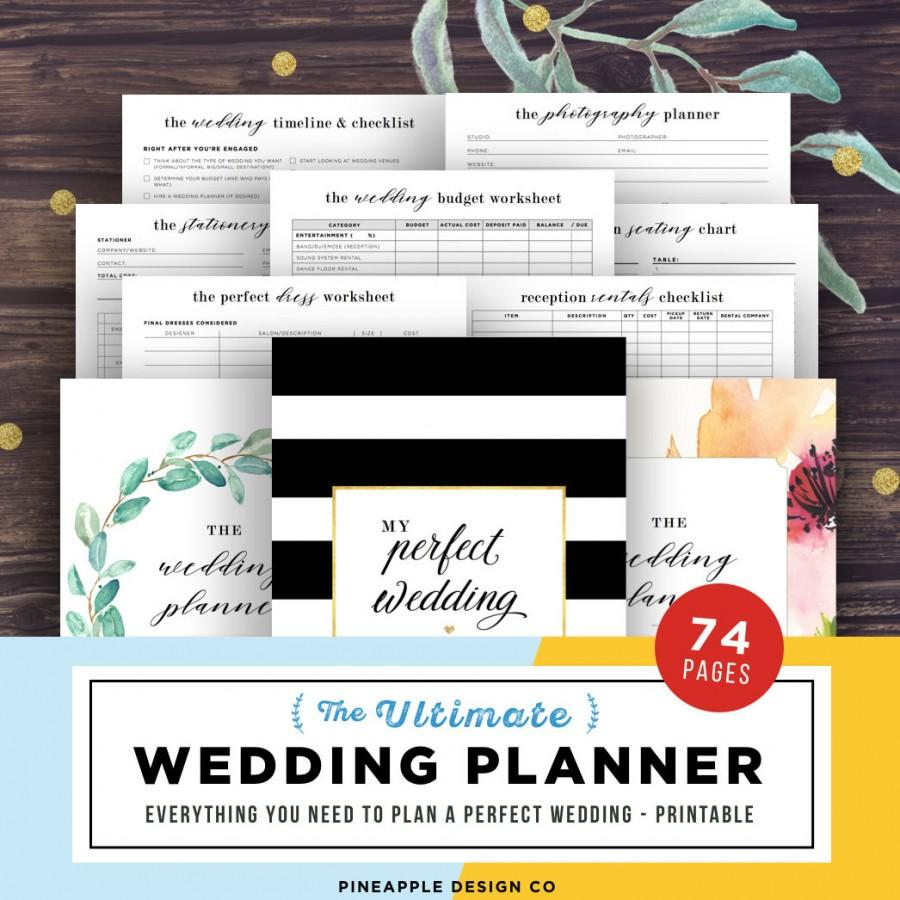 Wedding Planner Printable Planning Book Organizer Binder Template Maid Of Honor PDF