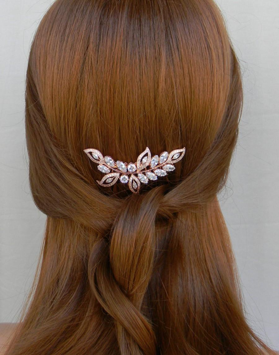 Mariage - Rose Gold Hair Comb, Bridal Hair comb, Pearl Bridal Comb, Swarovski Wedding headpiece, Bridal hair clip, Linneah Rose Gold Hair Comb