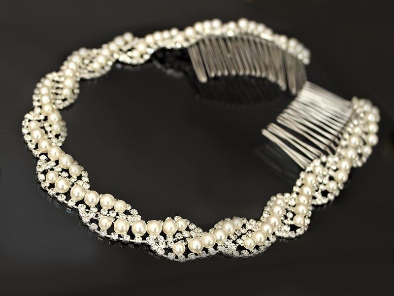 Свадьба - Pearl and Rhinestone Wedding Headband, Bridal Headpiece, Rhinestone Headband, Hair Tiara, Flower Girl,Hair Jewelry, Hair Accessory-HA024