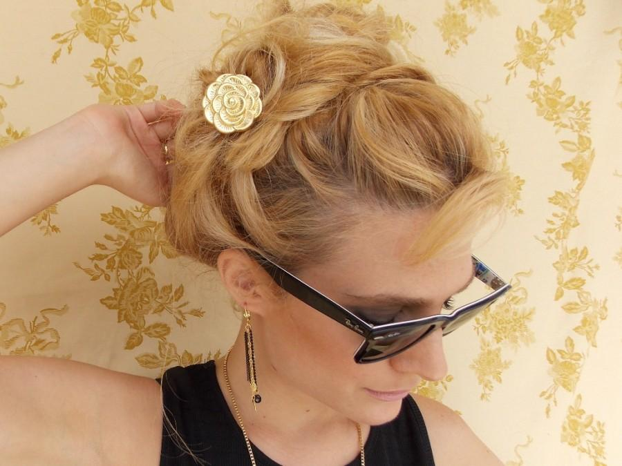Свадьба - Gold Flower Hair Fork - Golden Hair Fork - Bridal Hair Accessory - Bridesmaids Hair Pin - Wedding Head Piece - Bridal Hair pin - hair stick