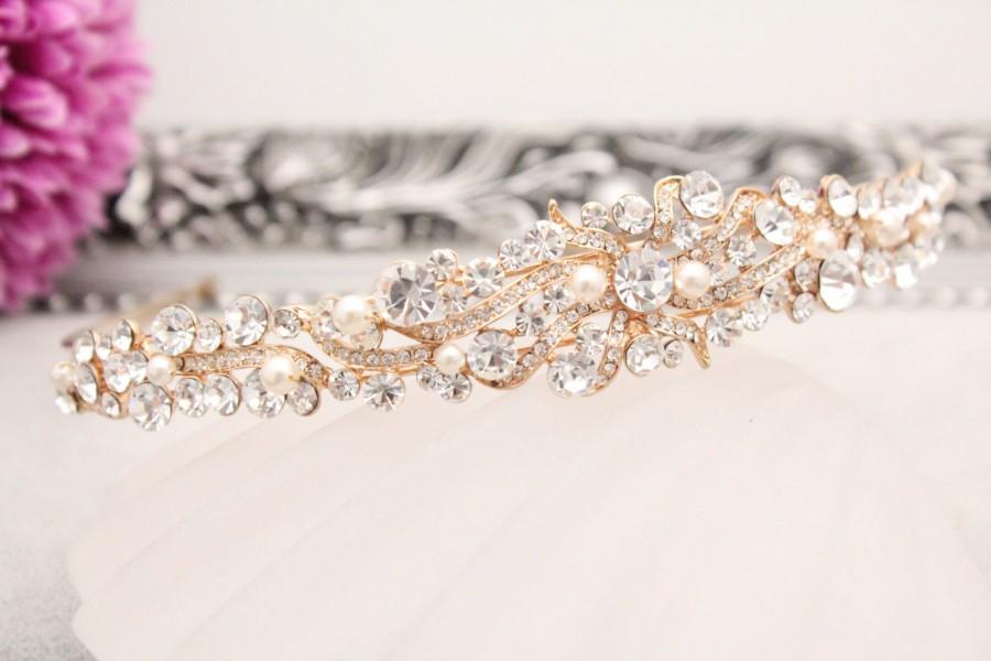 Свадьба - Rose gold bridal headband,Crystal and pearl Wedding headband Rose gold tone,Pearl headband tiara,Wedding hair accessories,Bridal headpiece