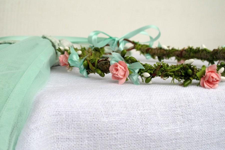 Свадьба - Moss&Rose crown Maternity headband Circlet Wedding wreath Woodland Fairy Mint Green Cream Coral Pink