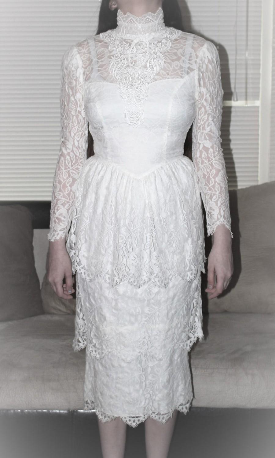 Vintage JESSICA MCLINTOCK Bridal Lace Wedding Dress -Victorian Lace ...