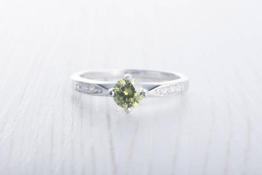 زفاف - Natural Peridot Solitaire engagement ring - available in white gold or sterling silver - handmade engagement ring - wedding ring