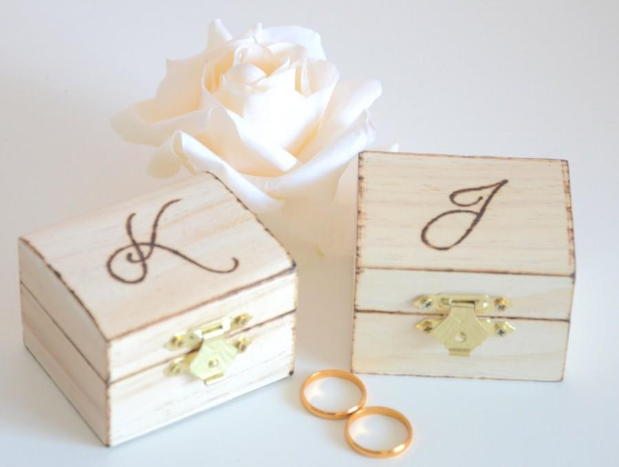 زفاف - Personalized set of ring bearer boxes with initials
