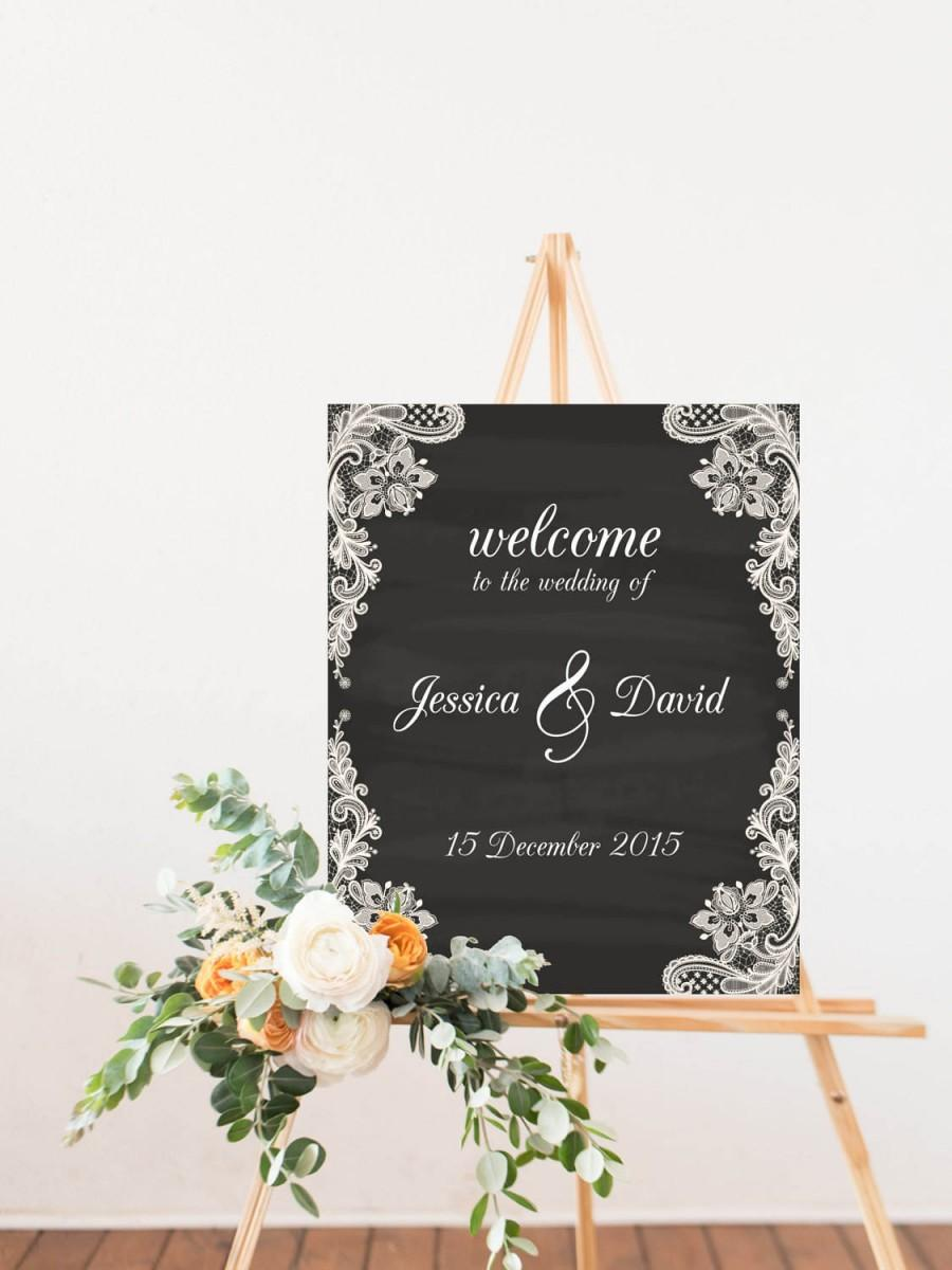 Hochzeit - Wedding Decoration Sign Welcome to Our Wedding, Chalkboard Background with White Lace