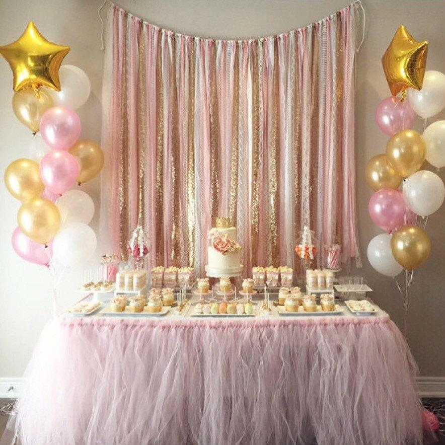 Wedding - Pink & Gold Garland Backdrop - birthday, baby shower, wedding ... Fabric, Sequin and Lace