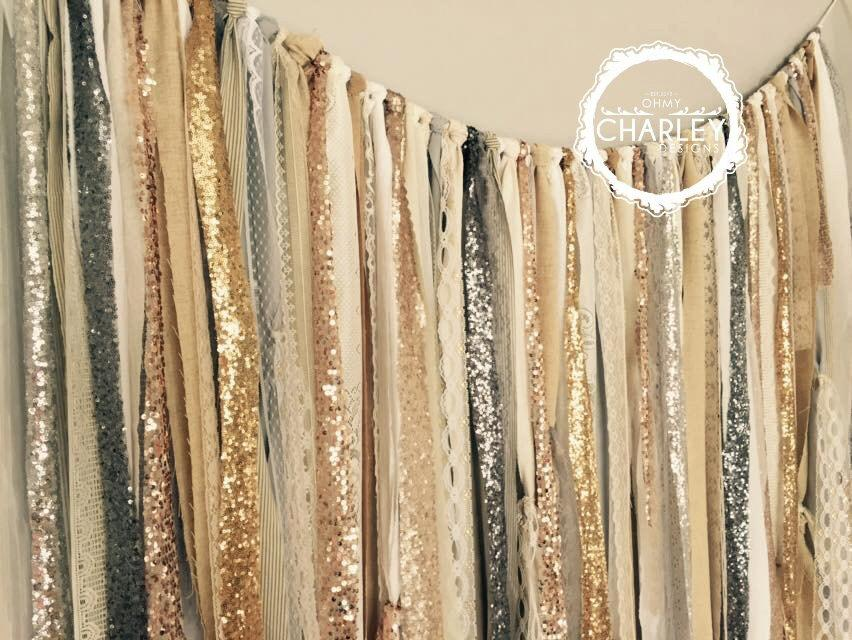 Свадьба - Gold Silver Champagne Rose Gold Pewter Sequin & Lace Backdrop Wedding Garland -  Backdrop - Industrial Rustic Chic 5ft x 6ft