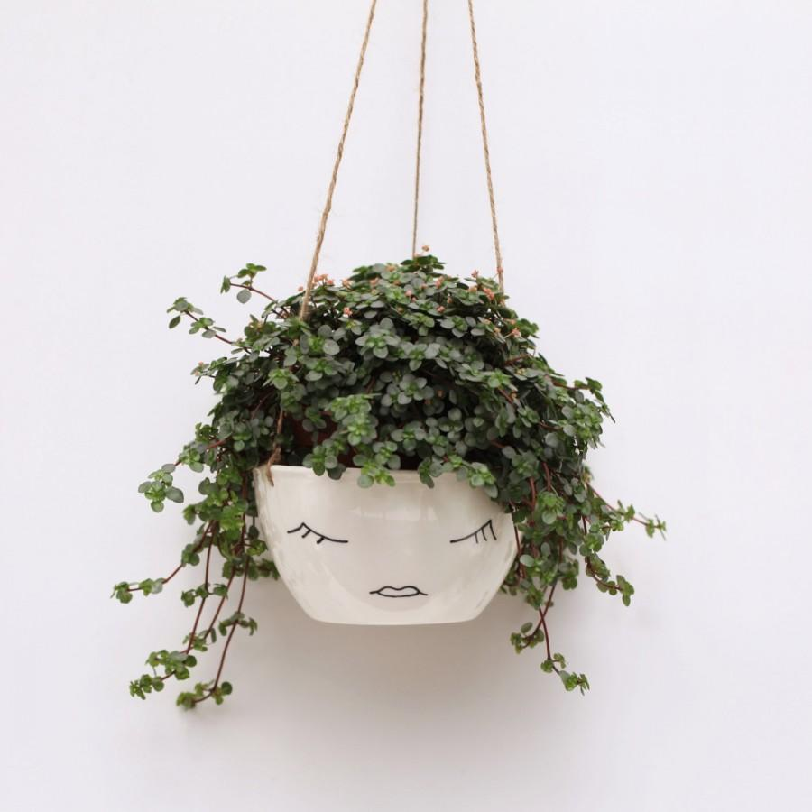 White Ceramic Hanging Planter Face Plant Pot Character Modern Scandinavian Design Botanical Black And Minimalist
