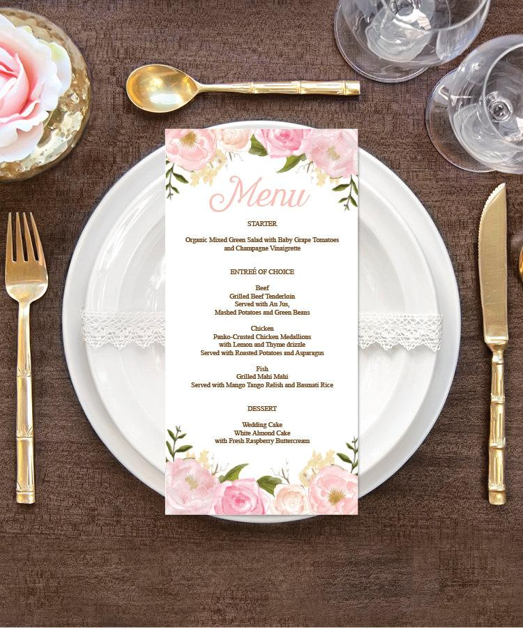menu wedding menu diy wedding menu rustic wedding pink floral diy shower menu 4 x 8 menu bridal shower menu printable menu