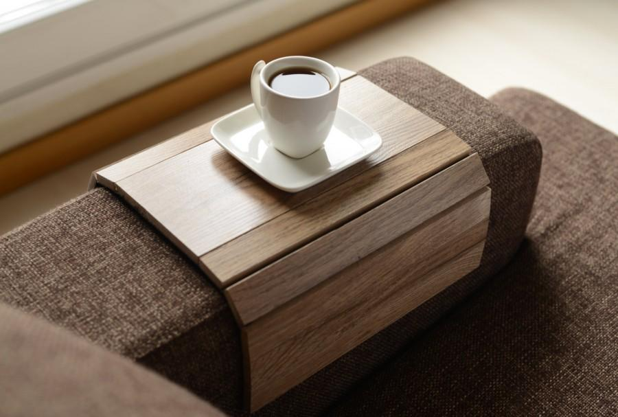 Sofa Tray Table Handmade Arm Armrest Coffee Wood Gifts Gift Home Living