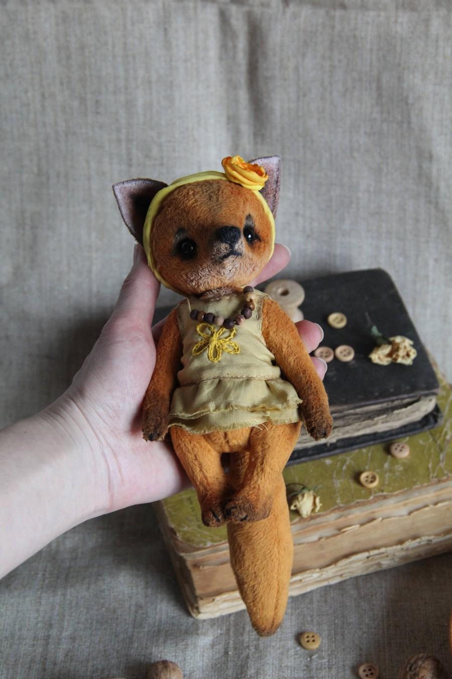 Boda - Author's teddy fox style teddy bear. Height 6.5  inch (16,5 cm).