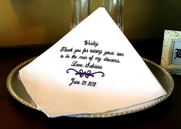 Mariage - Father of the Groom Handkerchief - Hanky - Hankie - For the Bride to Give Father of the Groom - Thank you for Raising the MAN of  MY DREAMS