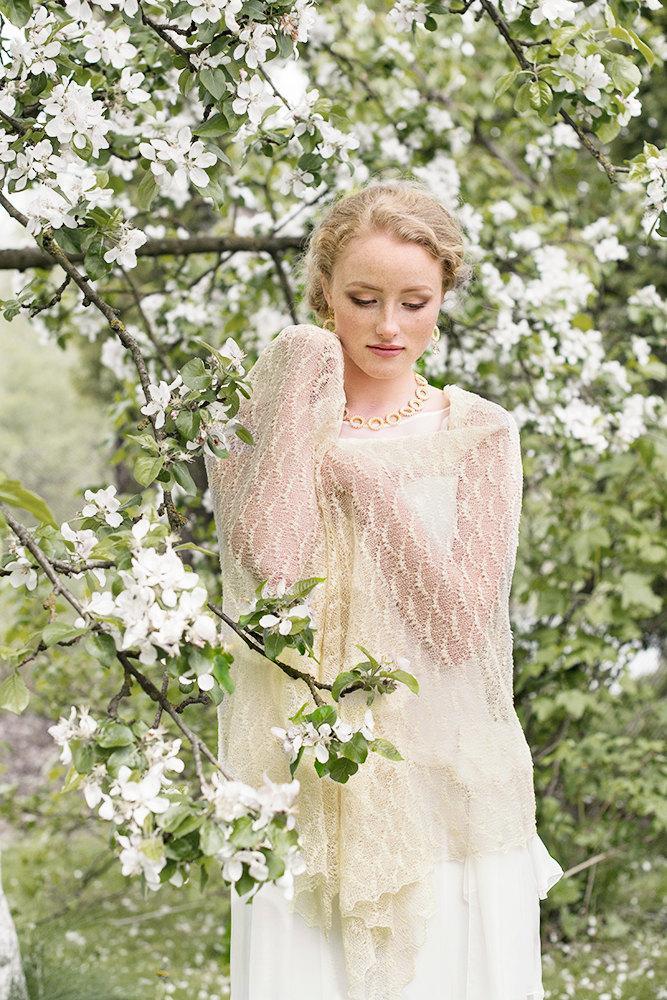 Mariage - Wedding Scarf Bridal Stole Ivory Shawl Lace Shawl Linen Wrap  Knitted Linen Shawl  Sheer Lace Scarf Bride Scarf