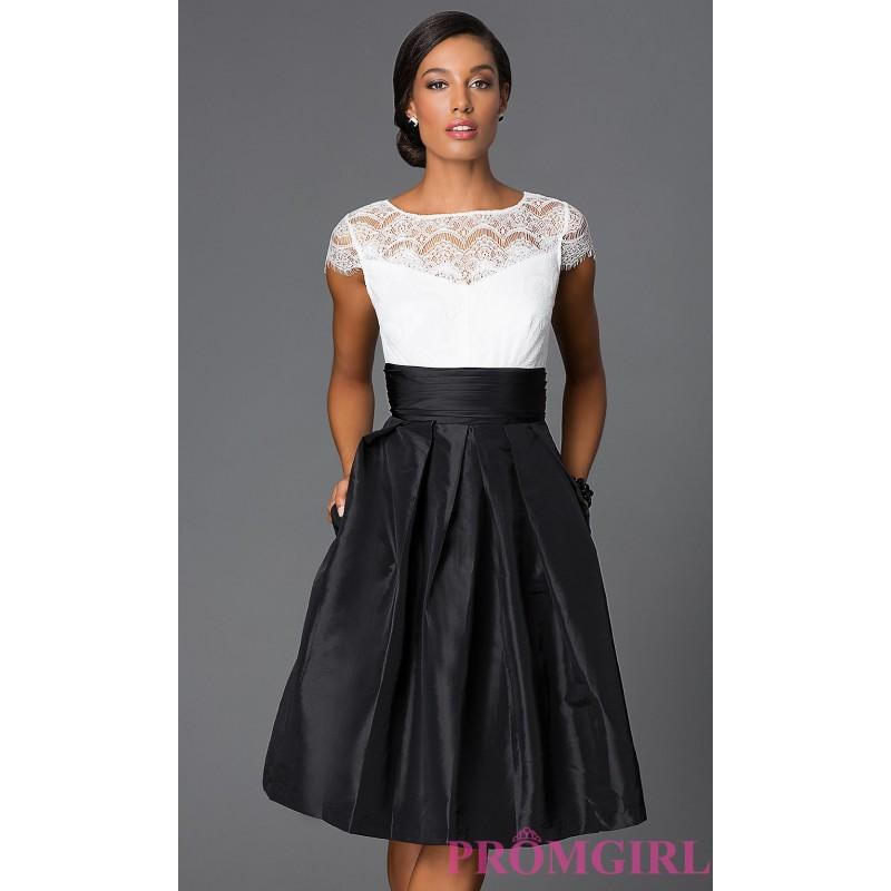 Knee Length Fit And Flare Dress With Lace Neckline And Cap