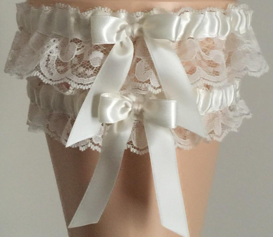 Свадьба - Ivory Lace Wedding Garter Set, 44 Different Color Choices,  Ivory Lace Bridal Garter Set, Prom Garter, Weddings, Custom Wedding
