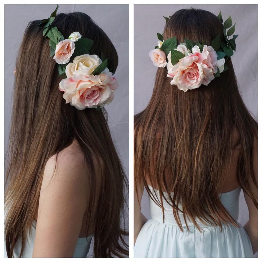 Свадьба - Flower crown wedding, blush flower crown, bridal floral crown, bridal headpiece, blush rose crown