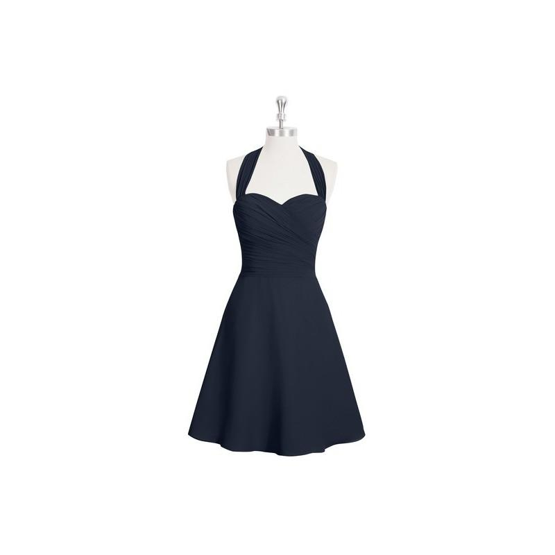 Wedding - Dark_navy Azazie Kinley - Bow/Tie Back Halter Chiffon Knee Length Dress - Cheap Gorgeous Bridesmaids Store