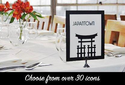 Mariage - San Francisco Table Number Card Wedding Decor Sign City Landmarks Bridal Reception Signage