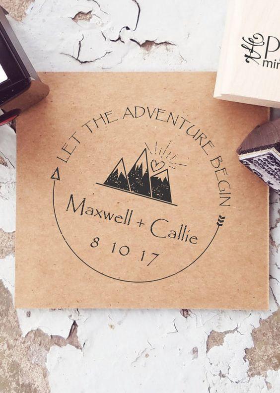 Wedding - Mountain Stamps, Mountain Wedding, Outdoor Stamp, Adventure Wedding, Custom Mountain Stamp, Wanderlust, Outdoor Rustic Wedding   CS-10306
