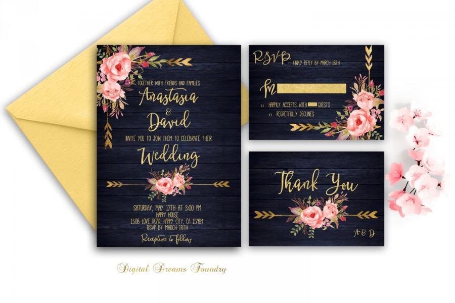 Navy And Gold Wedding Invitations: Navy Blue Wedding Invitation Printable Gold Wedding Floral