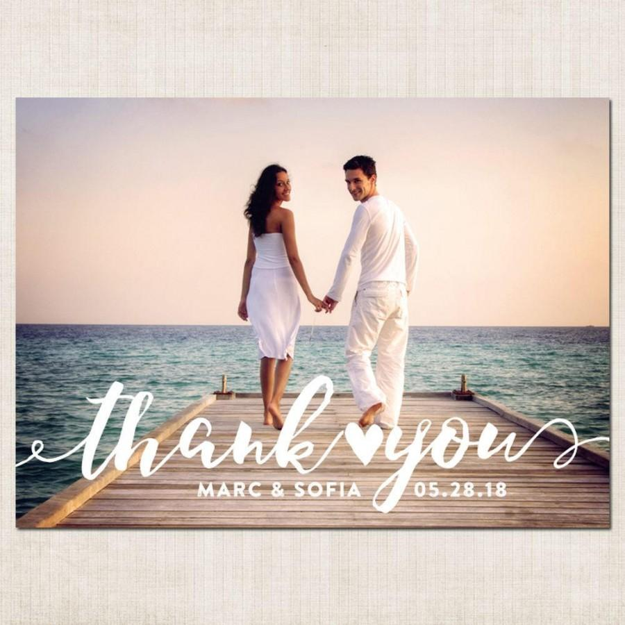 Full Photo Thank You Card Single Wedding Magnet Printable Or We Print Magnets Cards
