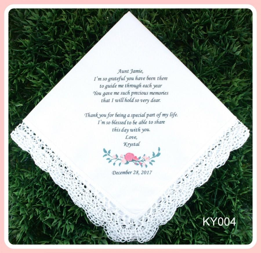 Hochzeit - Aunt of the Bride or Groom Hankerchief-Wedding Handkerchief-PRINTED-CUSTOMIZED-Wedding Hankerchief-Mother of the bride Gift-Gift for Aunt
