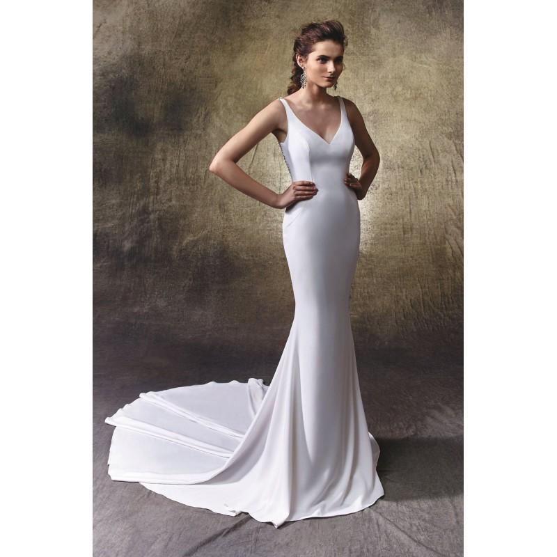 Wedding - Lacy by Enzoani - Georgette Floor Straps  V-Neck Body-skimming Wedding Dresses - Bridesmaid Dress Online Shop