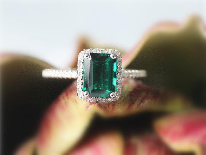 Свадьба - Emerald Engagement Ring In 14K White Gold Emerald Cut 6x8mm Emerald Diamond Ring Wedding Ring Bridal Jewelry