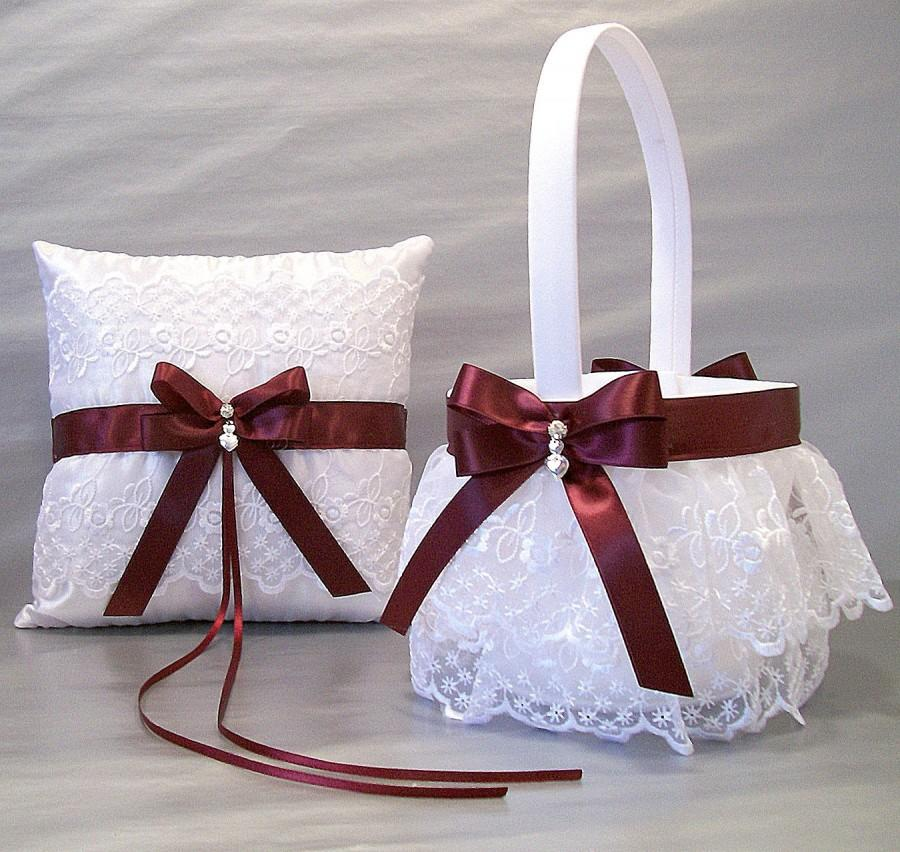 Flower Girl Basket Gray : Burgundy wedding bridal flower girl basket and ring
