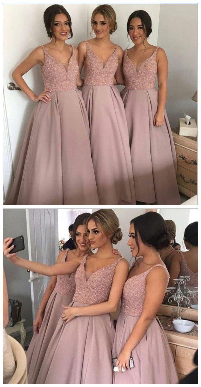 Wedding - Long A-line Bridesmaid Dress, Dust