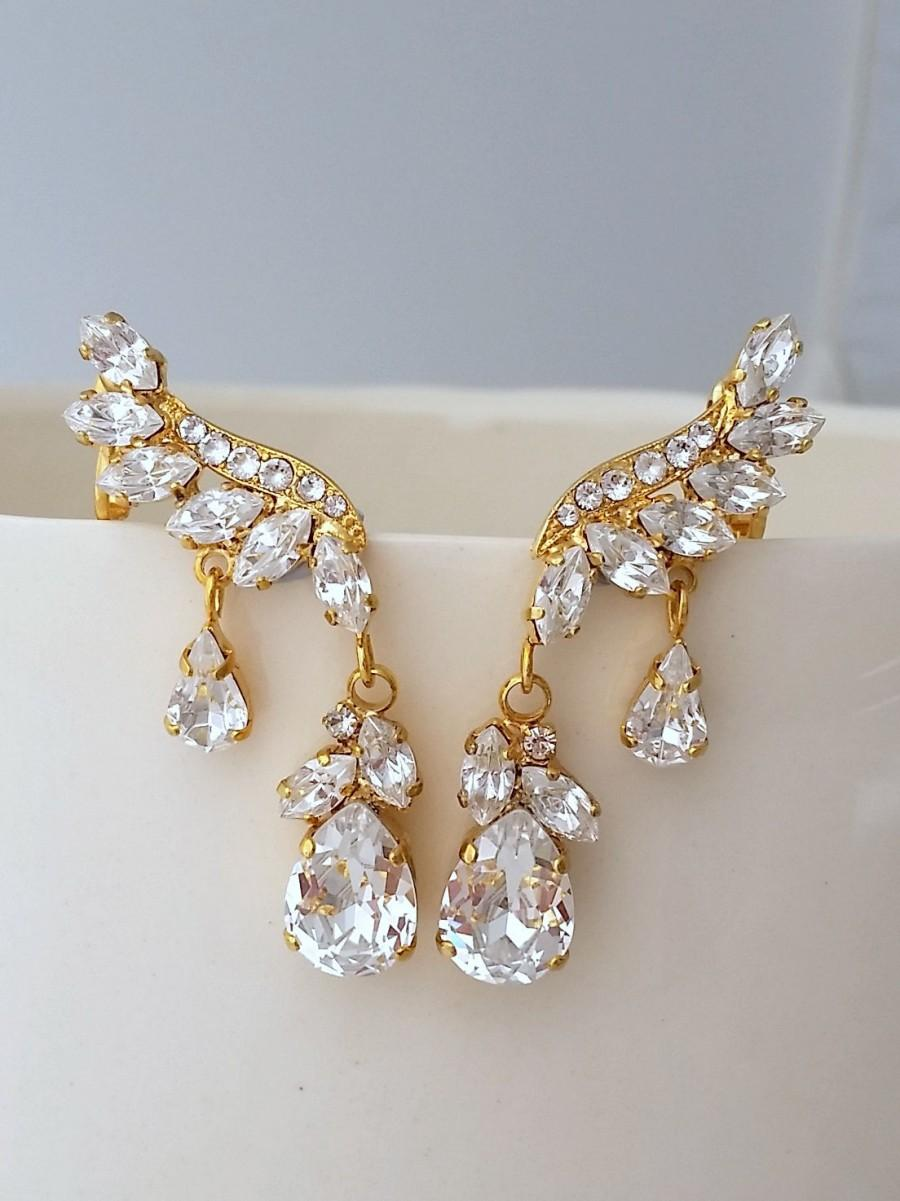 زفاف - Bridal earrings,Swarovski Crystal Climbing earrings,Bridal Cluster Studs,Swarovski Bridal earrings,Brideamaids gift,Crystal Vintage Earrings
