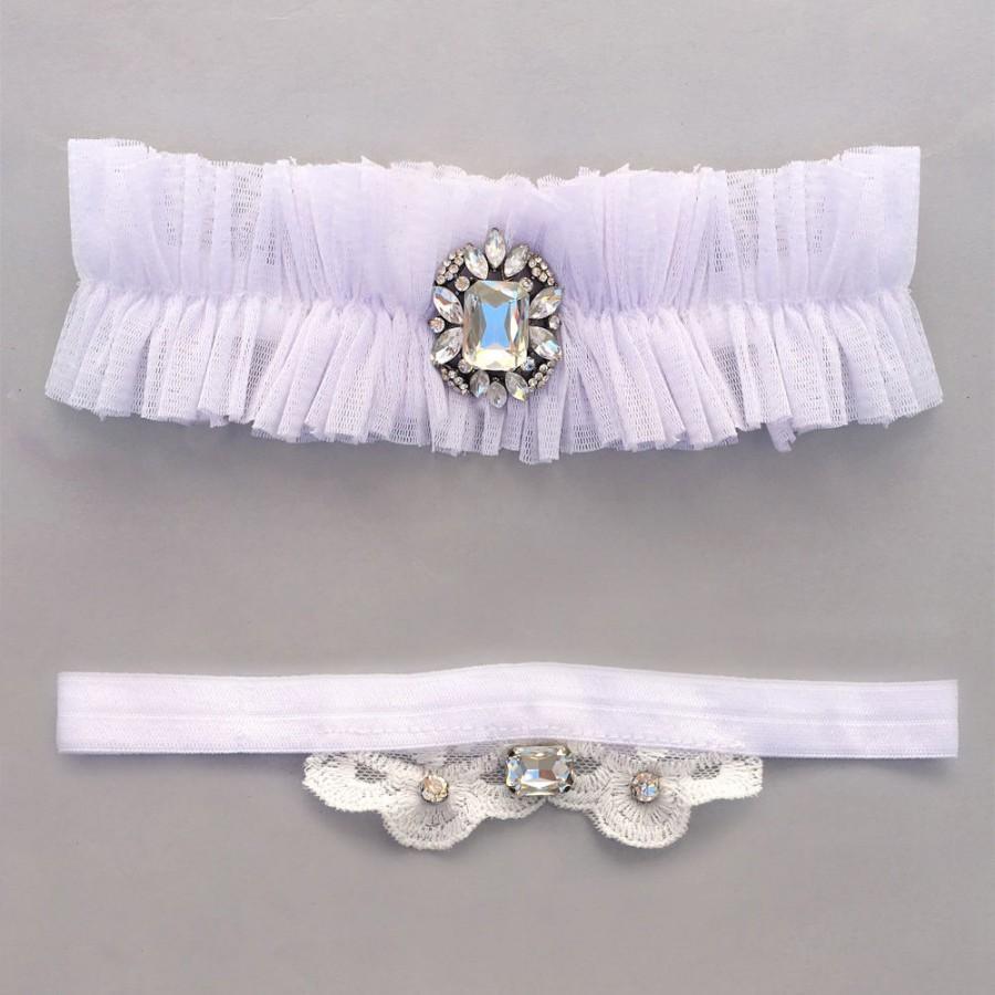 Свадьба - White Wedding Lace Garter Set with Rhinestone/sequin/wedding accessories/Bride Fashion