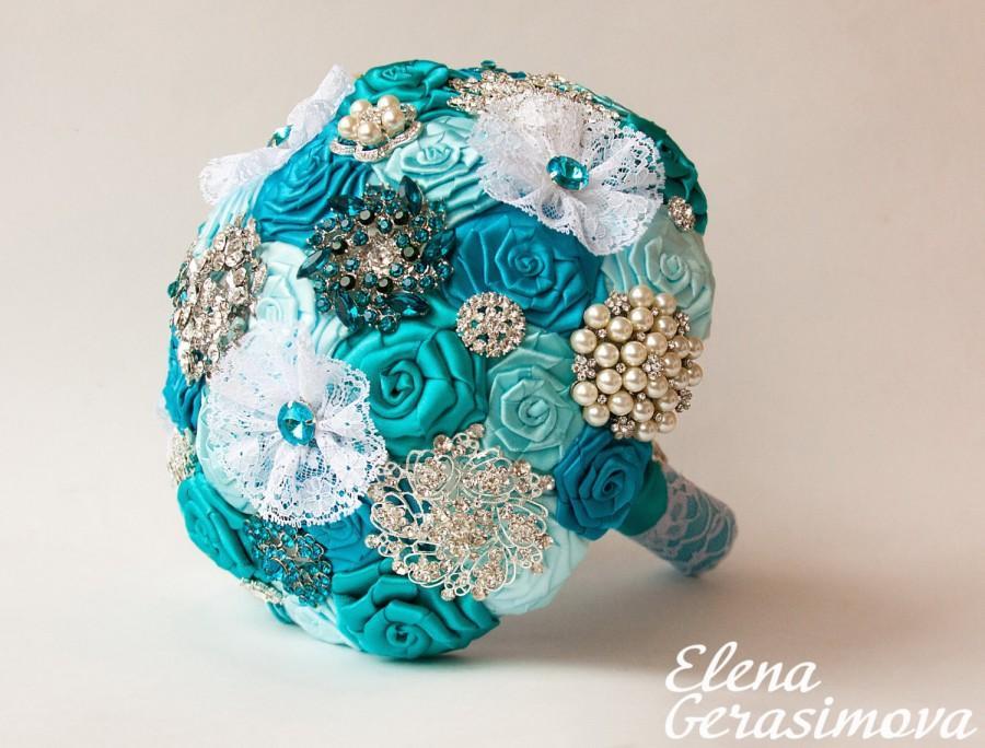 زفاف - Brooch Bouquet. Turquoise Ivory Fabric Bouquet, Unique Wedding Bridal Bouquet