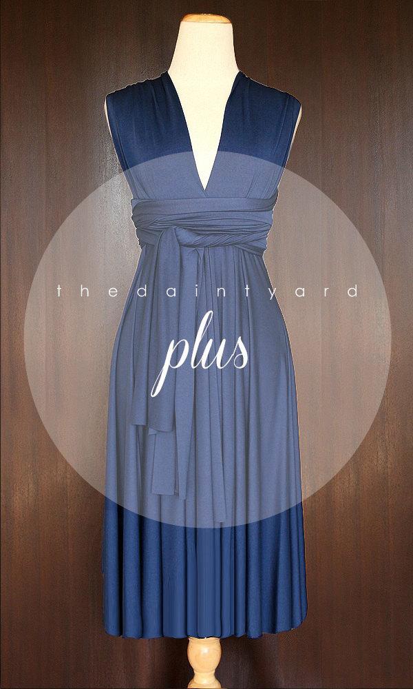زفاف - PLUS SIZE Short Straight Hem Midnight Blue Bridesmaid Convertible Dress Infinity Dress Multiway Dress Wrap Dress Maternity Dress Twist Dress