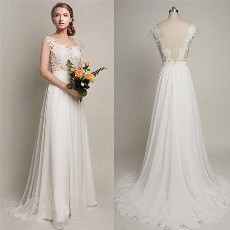 Wedding - Simple Long A-Line V-back Lace Wedding Dresses, Chiffon Wedding Party Dresses, WD0013