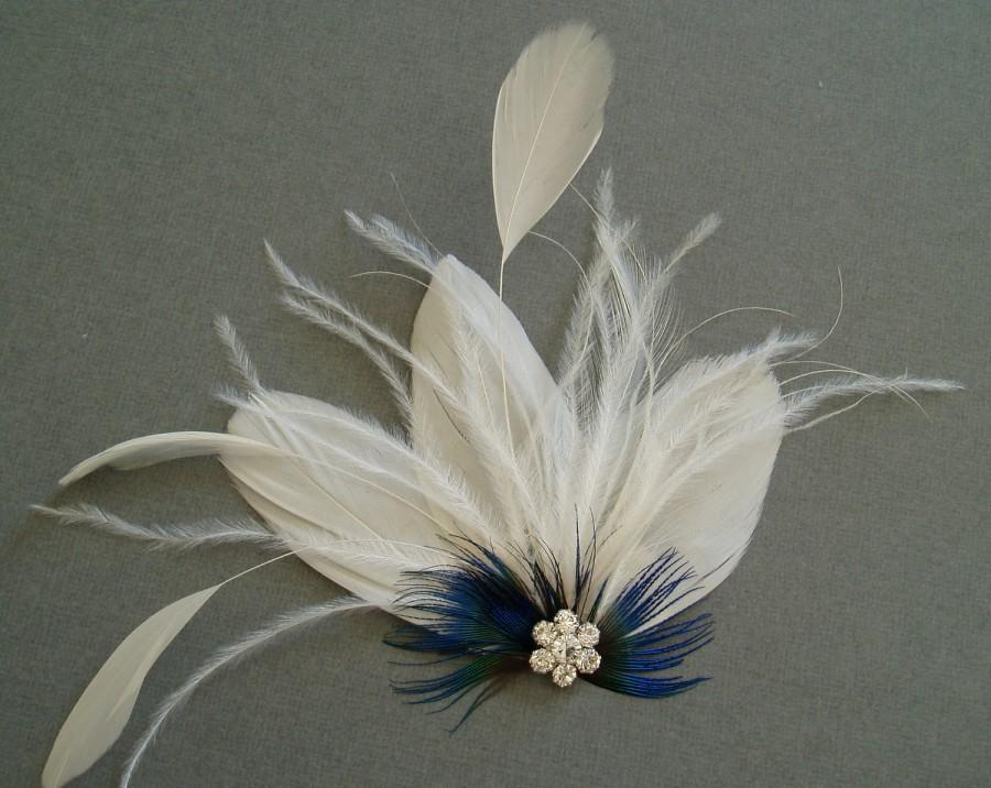 Mariage - Fascinator Feather Bridal Hair Clip Wedding Hair Accessories bridesmaid gift shower facinator WHITE BLUE