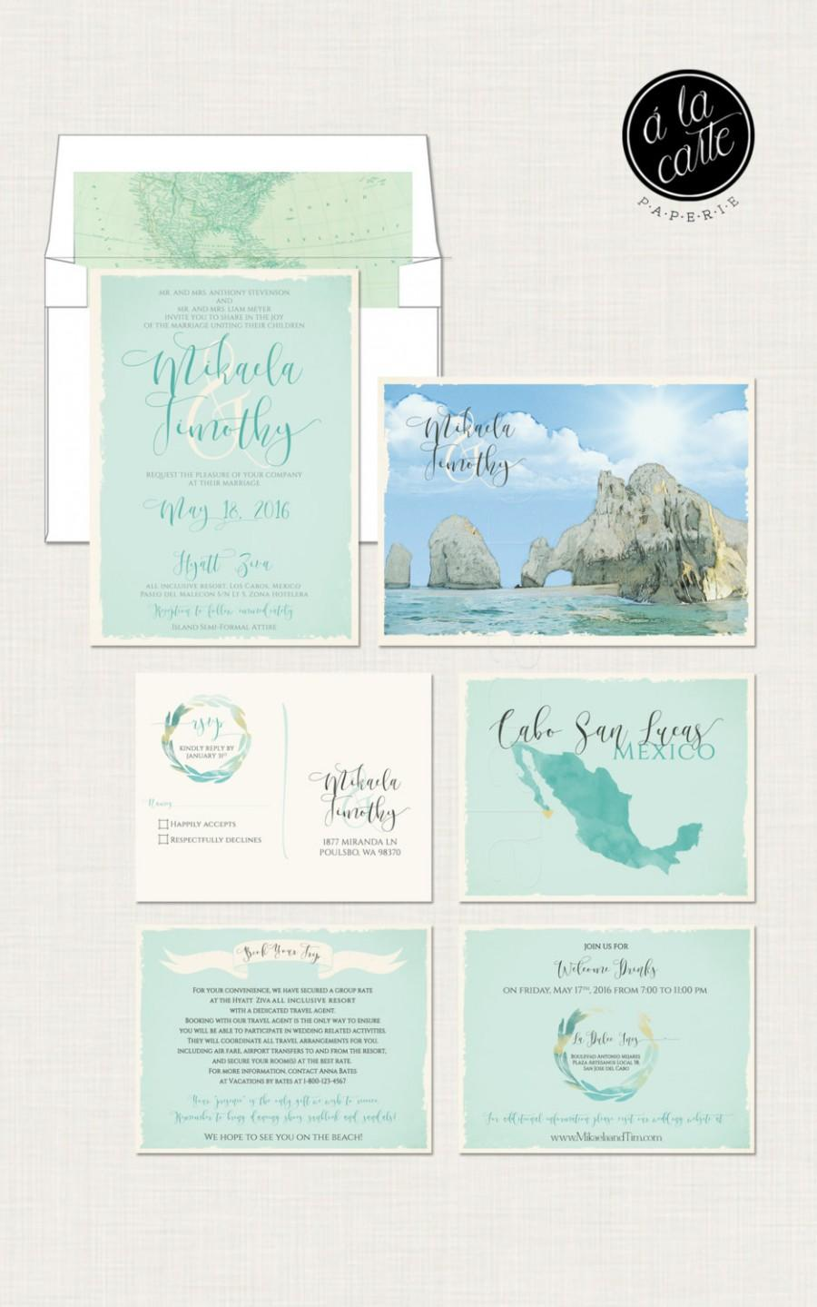 زفاف - Destination wedding invitation Cabo San Lucas Los Cabos Beach Mexico bilingual  illustrated wedding invitation Blue Green - Deposit Payment
