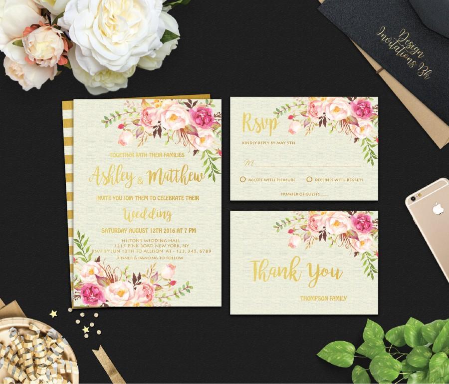 زفاف - Printable Wedding Invitation, Floral Wedding Invitation, Boho Flowers, Wedding Invitations, Wedding Invitatin Set, Gold Wedding invitation