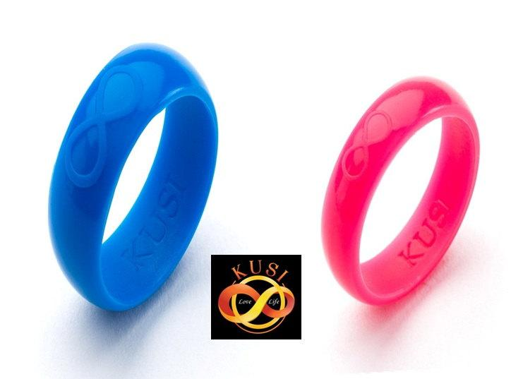 """Wedding - 2 Ring Set """"He & She""""- Silicone Wedding Rings *** High Quality. Comfortable, Safe, Stylish and Functional """"Infinity Promise Rings"""" ***"""