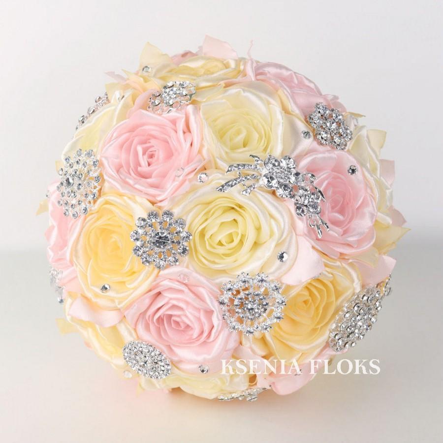 Hochzeit - Sale!Reade to ship! Brooch Bouquet Fabric Bouquet Ivory Pink Bouquet Broach Bouquet Wedding Bouquet Bridal Bouquet Bridesmaids Bouquet