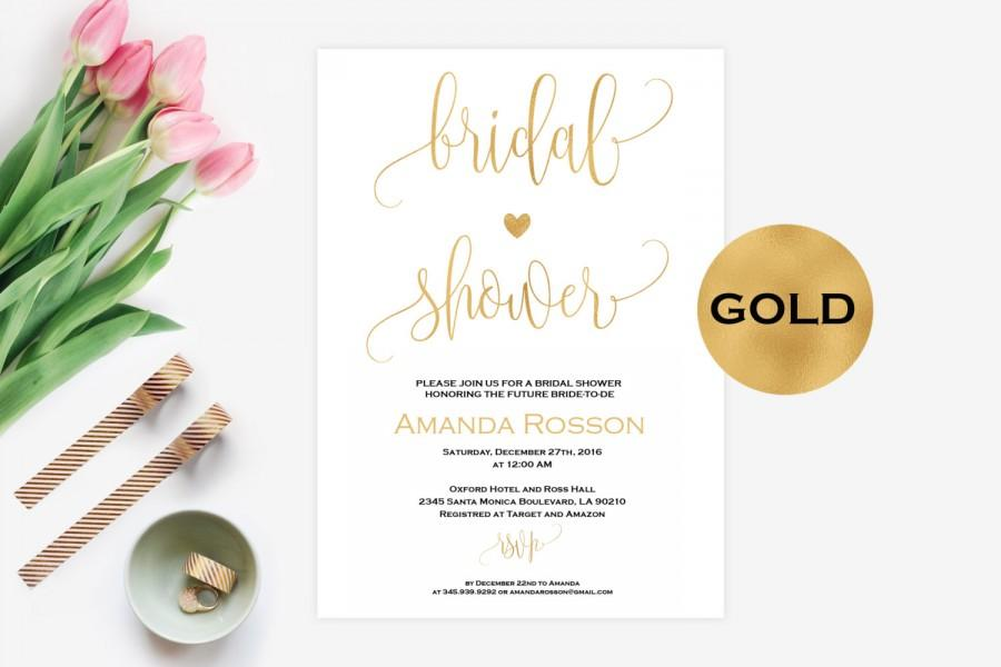 Wedding - Bridal shower gold invitations - Printable Wedding Shower Invitations -Wedding Invitation - Printable Wedding Invitations - PDF #WDH0094 - $6.50 EUR