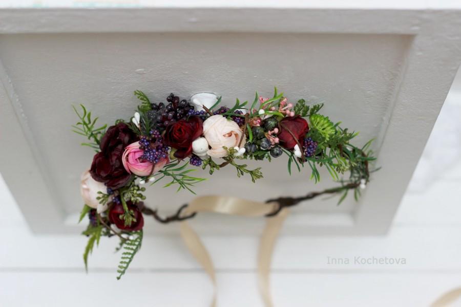 Mariage - Green floral crown Beige burgundy marsala flower crown Bridal flower wreath Wedding halo Bridesmaid headpiece Woodland wedding Greenery